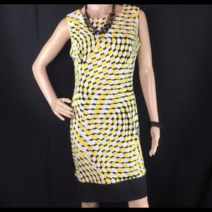 Size 8 | Ronni Nicole Dress | Yellow/Black/White